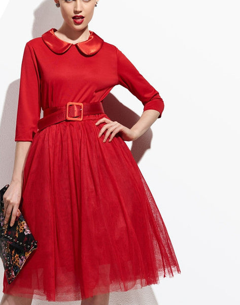 Red Women Pompon Day Dress Vintage Lapel Half Sleeve Tulle Party Tutu Slim Dresses