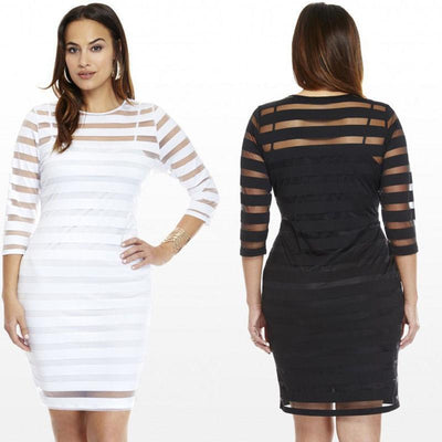 Women Ladies Slim Bodycon Sexy Party Evening Short Mini Dress Plus Size Striped Dressed Female Dresses