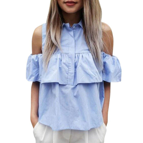 Women Off the Shoulder Ruffles Blouse Shirts Turn Down Blue Casual Sexy Tops Work Office Ladies