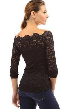 Sexy Women Blouses Off Shoulder Lace Crochet Shirts Long Sleeve Casual Tops Blouse Plus Size HM2526