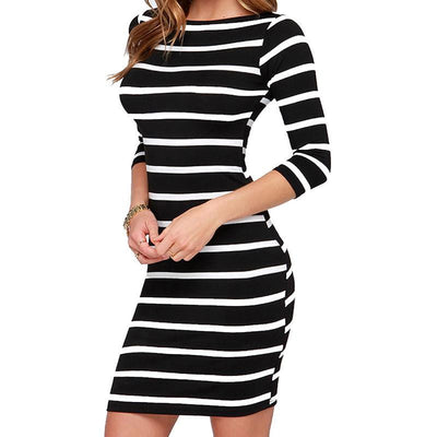 Women's Fashion Striped Bodycon Autumn Dresses Slimming Wrap Clothing For Woman Casual Fall Dress