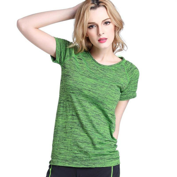 Women Tees T Shirt Short Sleeves Hygroscopic Quick Dry Fitness T-shirt For Women Tops Chic