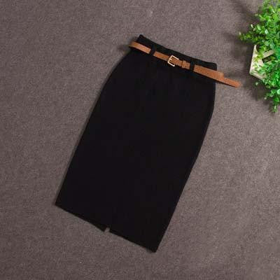 Skirts Casual Women High Waist Knee-length Knitted Elegant slim Long Pencil Skirts 850J 25