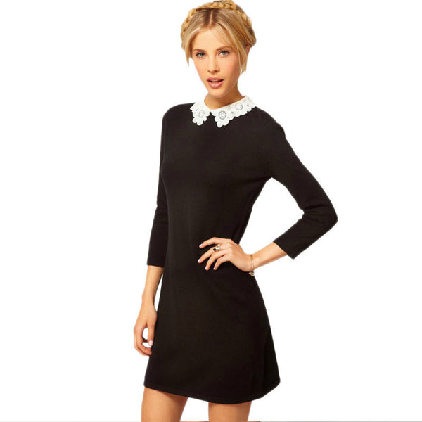 6e059bcce Online discount shop Australia - Ladies Black Dress White Collar Fashion  Korean Style Peter Pan Collar