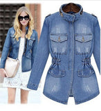 women's short denim jacket coat women slim zipper pockets basic jackets outerwear jeans coat large size