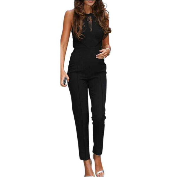 Online discount shop Australia - Elegant Rompers Womens Jumpsuit Ladies Fashion Bodycon Sleeveless Lace Patchwork Long Solid Plus Size Overalls