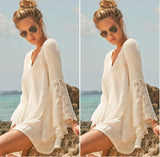 Women Vintage Dress Spring Fashion Hippie Boho Dress Bell Long Sleeve Gypsy Plus Size Loose Lace Mini Dress