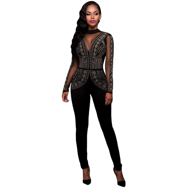 Women Jumpsuit Long Pants Romper Mesh Studded Sleeve Turtleneck Solid Sexy Night Club Elegant Slim Jumpsuits Overall