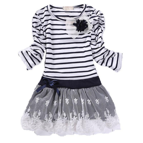 Online discount shop Australia - Children Wedding Dress Baby Girls Dresses Kids Striped Bow Long-Sleeved Lace Princess Casual Dress For Party