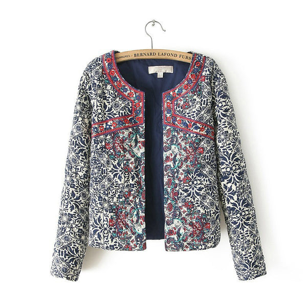 Retro Print Blue White Round Neck Full Sleeve Jacket Female Embroidered Coat For Women Embroidery Slim tops