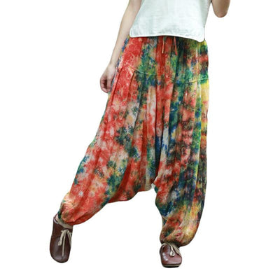 Women Casual Pants Female Trousers Baggy Boho Harem Pants Jumpsuit Leg Bloomers Smocked Casual Pants Leisure Wear