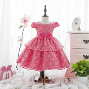 Wedding dress baby girls party dresses ball grwn layed dresses for kids beautiful Flower girl