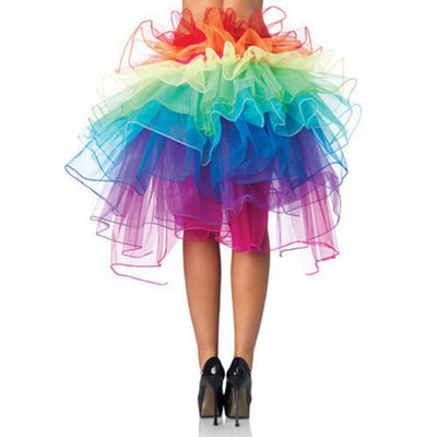 Retail Colorful Adult Dancing Tutu Layered Organza Lace up Party Rainbow Skirt Clubwear