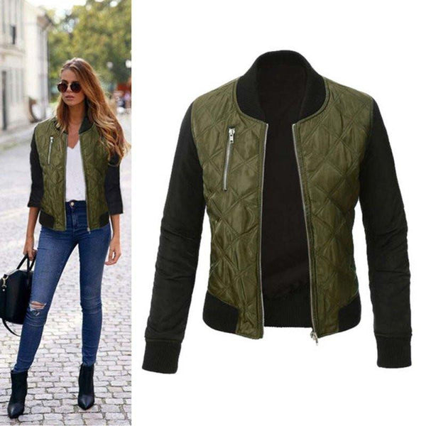 Women Casual Basic Coats Long Sleeve Jacket Coat Thicken Outwear Bomber Jackets