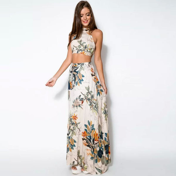 Online discount shop Australia - 2 Piece Set Party Beach Women Dresses Lady Summer Long Maxi Dress Fashion Sexy Cross Backless Halterneck Floral Print Vestido