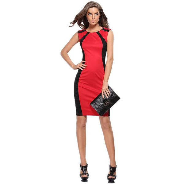 Women Sexy Summer Dress Ladies Elegant Sleeveless Patchwork O-neck Back Zipper Slimming Bodycon Pencil Dress S-3XL