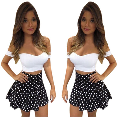 Online discount shop Australia - Feitong Summer Women Sexy Off Shoulder Dress Fashion 2 Pieces Set Dress Bodycon Bandage Party Mini Dress vestidos femininos