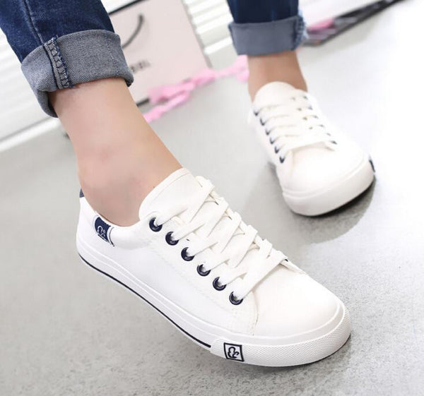 Women fashion all size casual canvas shoes lady leisure star printed flat shoes
