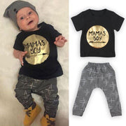 Online discount shop Australia - 2Pcs Newborn Toddler Baby boys girls Infant Clothes Golden Letter Mamas Boys Printed Jumpsuit Outfit Sets 0-24M UK