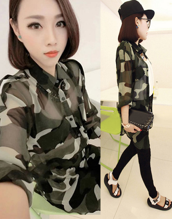 0a4d3a08 Green Camouflage Shirt women Army Style Long Sleeve Blouses lady Dress –  Onlinediscountshop