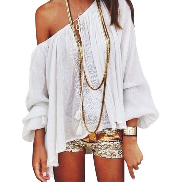 Women Boho Loose Tops Off Shoulder Long Sleeve Sexy White Shirt Lace Blouse