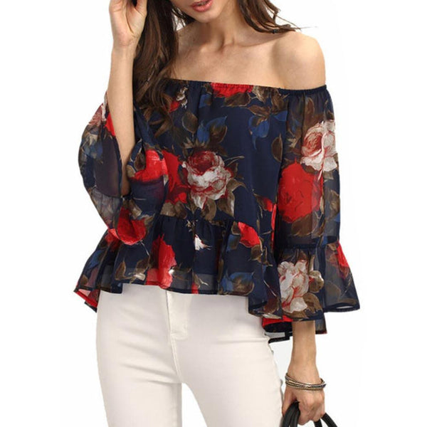 Sexy Ruffles Off Shoulder Tops Women Chiffon Blouse Female Ves Top Casual Tank Floral Top Shirt W1