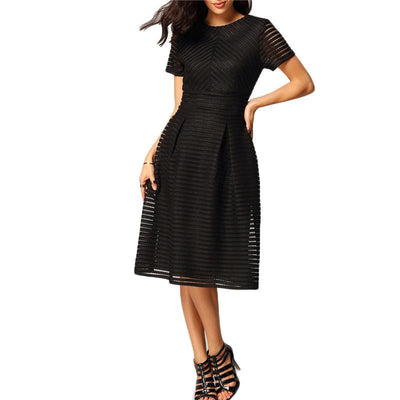 Women Elegant Dresses Latest Fashionable Round Neck Pleated Black Short Sleeve Hollow Out Flare Flippy Mid Dress