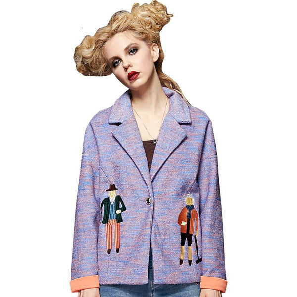 Online discount shop Australia - ELF SACK Women BrandCharacter Pattern Embroidery Coat Short Loose Jacket Women's Casual Turn-down Collar Outerwear