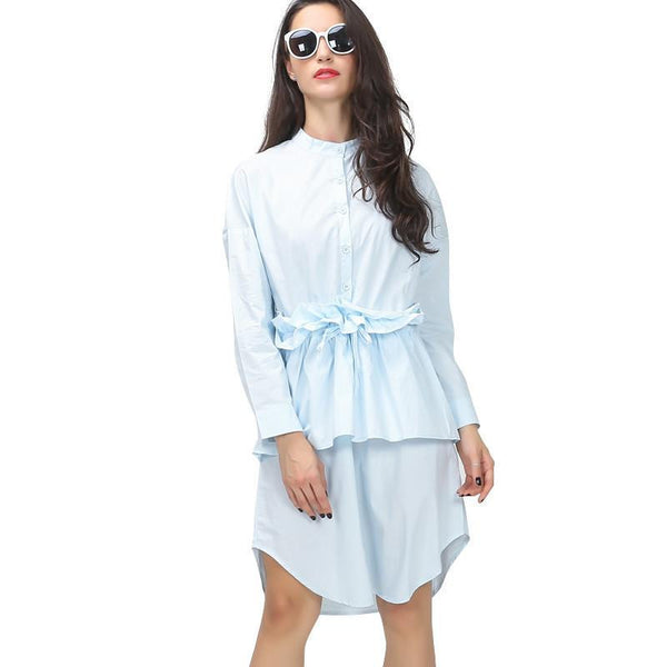 Spring Ruffles Pleated Drawstring Waisted Shirt Women Dress Long Sleeve Casual Clothing Fashion