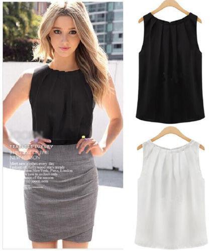 Sexy Crop Top Fashion Women Lady Girls Elegant Loose Solid Collar Sleeveless Chiffon Vest Tank Tops Blouse t shirt women Gift