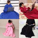 Online discount shop Australia - 1 Pcs Blanket Super Large Size Home Winter Warm Fleece Blanket Robe Cloak With Sleeves Black,Blue,Wine Red,Pink