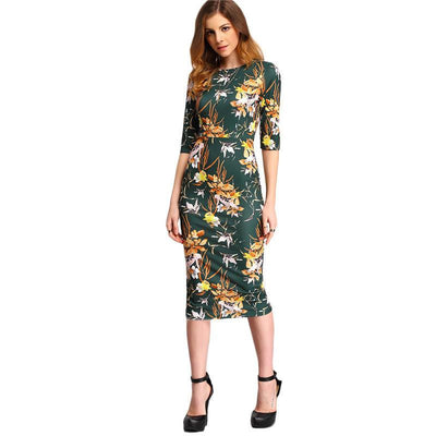 Womens Autumn Dress Bodycon Dresses New Vintage Spring Summer Office Green Mock Neck Floral Pencil Midi Dress