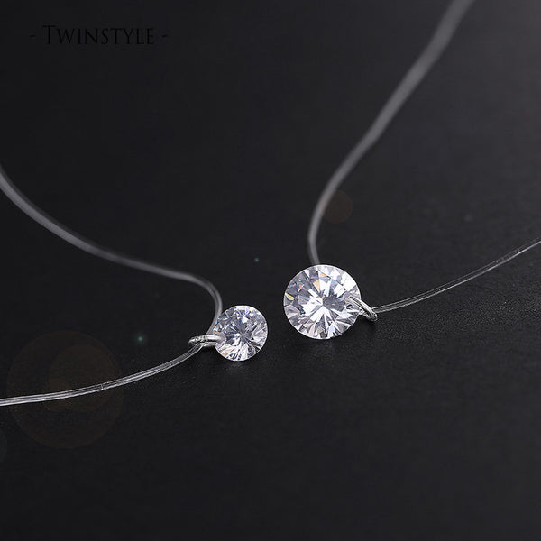 Online discount shop Australia - 925 Sterling Silver Dazzling Zircon Necklace And Invisible Transparent Fishing Line Simple Pendant 38-40cm Personality Jewelry