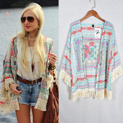 Women Vintage Floral Loose Shawl Cardigan Boho Chiffon Coat Jacket Blouse
