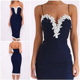 Plus Size Sexy Women Lace Printed Dress Vestido Bodycon Strappy V Neck Floral Lace Cocktail Party Short Dress Navy Blue