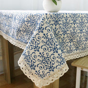 Online discount shop Australia - Classic Linen Cotton Table Cloth Blue Flower Printed Table Cover Dust Proof Rectangular Tablecloth Wedding Party Home Decoration