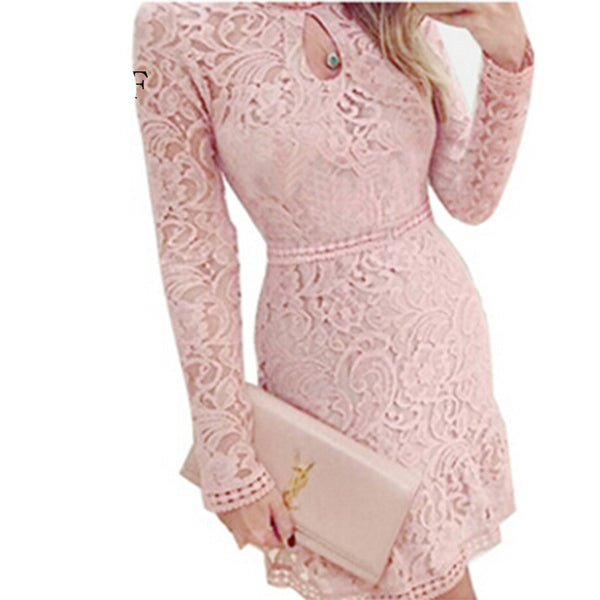 Women Dress Fashion Casual Sheath Lace Long Full Sleeve Knee-Length Dresses For Evening Party