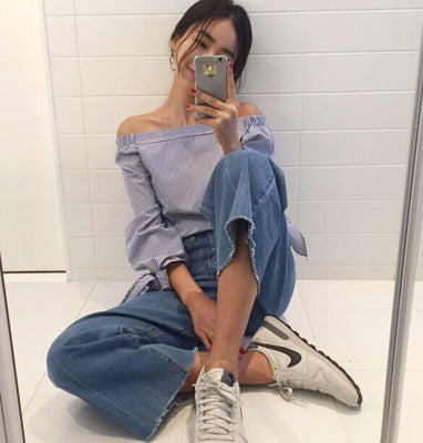 New Women Shirts Full Sleeve Striped   Off the shoulder Blouse Shirt White Blue