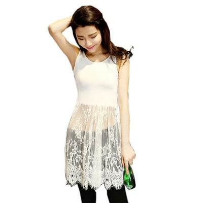 Vest Women Dress Fashion Sexy Lace Dress Womens Sleeveless Mini Dress Black/White Patchwork Summer Dress #YEE
