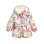 Next Kids Jackets & Coats Girls Graffiti Parkas Hooded Baby Girl Warm Outerwear Cartoon Animal Children's Jacket