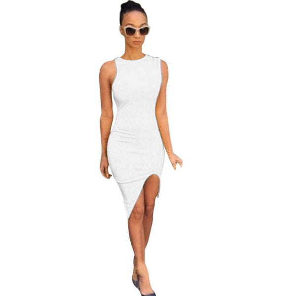 Plus Size Sexy Summer Vestido Women Casual Sleeveless Elegant Evening Party Dresses White Short Bandage Bodycon Dress LM58