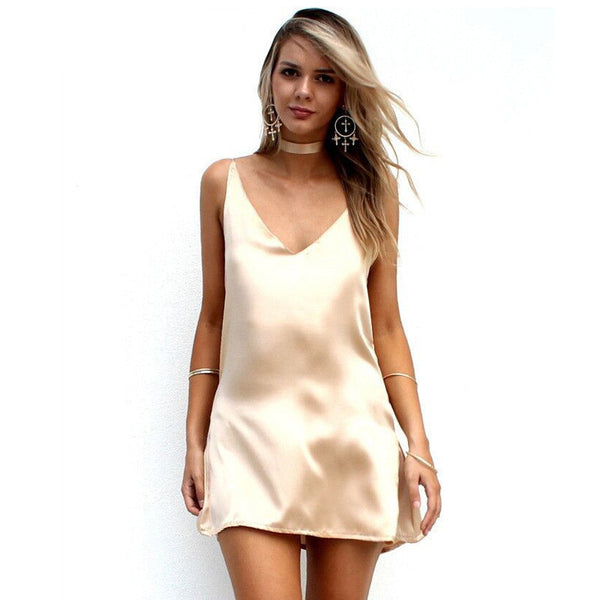 New Fashion Sexy V Neck Satin Slip Summer Dress Sleeveless Mini Halter Evening Bodycon Club Wear Female Party Dresses
