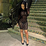 Women Dress Long Sleeve Mesh Patchwork Black Sequin Pencil Midi Dress Club Night Bandage Bodycon Party Dresses