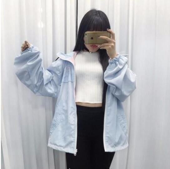 Online discount shop Australia - Japanese Harajuku hit color embroidered loose jacket worn on both sides