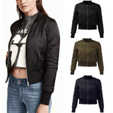 Warm Womens Quilted Jackets Short Thick Fleece Padded Bomber Jacket Coat Pilots Outerwear Tops Plus Size
