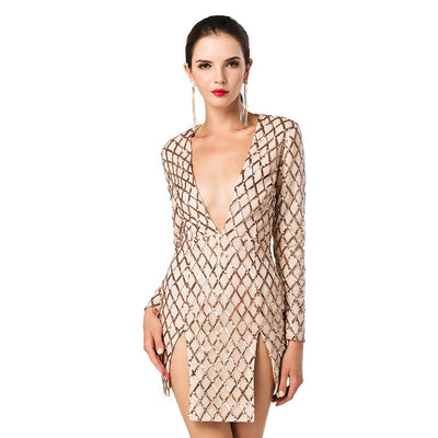 Online discount shop Australia - Missord Sexy Deep-V long sleeve grid sequin split dress FT4657