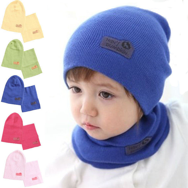 Online discount shop Australia - 6 Colors Children Hedging Cap + Scarf Suit Leather Standard Solid Color Candy-Colored Wool Hats Newsboy Caps Baby Hat