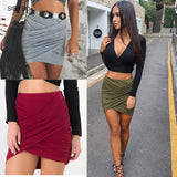 Street Fashion Women Lady High Waist Short Skirt Sexy Bandage Bodycon Cross Fold Pencil Skirts 5 Colors