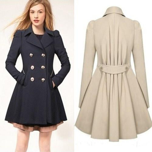 Style Brand Women Long Trench Coat Plus Size Beige Slim