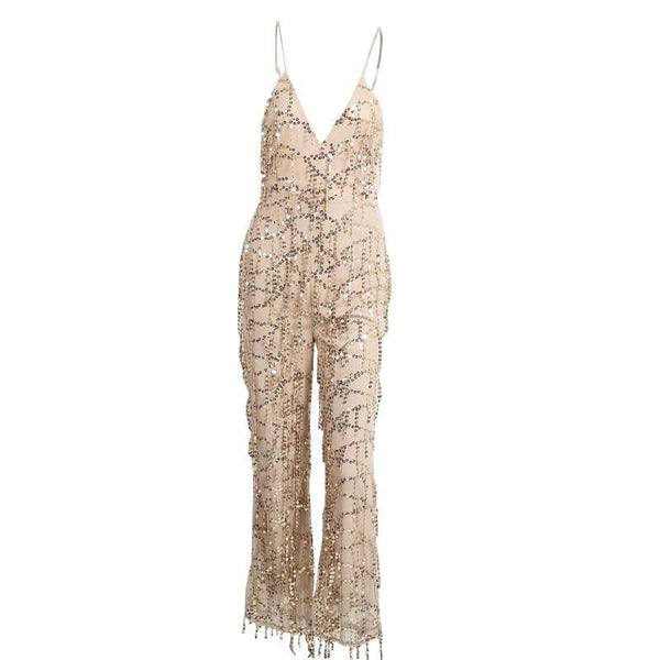 Gold sequin tassel elegant jumpsuit romper sexy mesh club overalls Women v neck sling playsuit